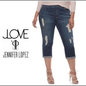 c8d3415bc21 Jennifer Lopez Pants - Plus Size Jennifer Lopez Ripped Capri